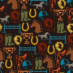 Seamless pattern with horse equipment in flat style.