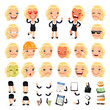 Set of Cartoon Businesswoman Character for Your Design or Aanima