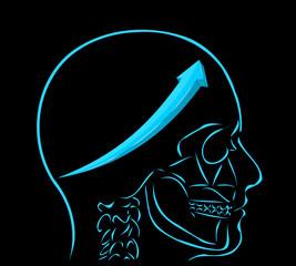 niebieska strzałka i myśl