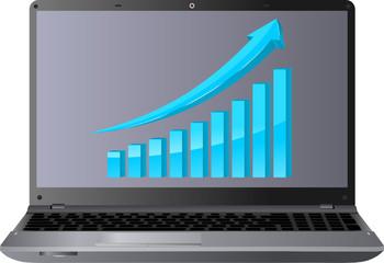niebieska strzałka wykres i laptop