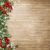 Fototapety Christmas wood background  with poinsettia and firtree