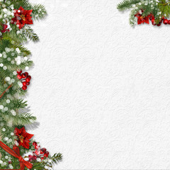 Christmas background with firtree&poinsettia