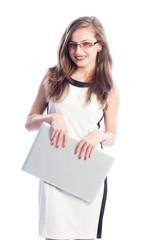 Business woman holding a laptop.