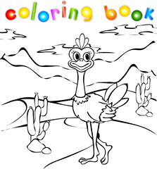 Ostrich in desert coloring book