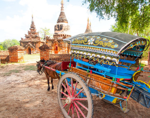 horse carriage and Daw Gyan Pagoda complex, Ava, Myanmar