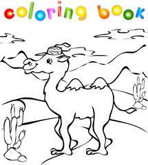 Funny camel in desert coloring book