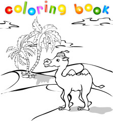 cartoon camel in desert coloring book