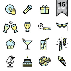 Party line icons set 38