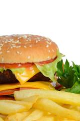 Hamburger with a potato fries