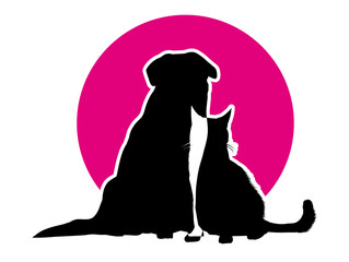 cat and dog on the background of magenta circle
