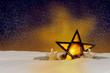 canvas print picture - Leuchtender Weihnachtsstern bei Nacht
