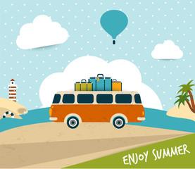 Retro travel bus concept. summer holiday.
