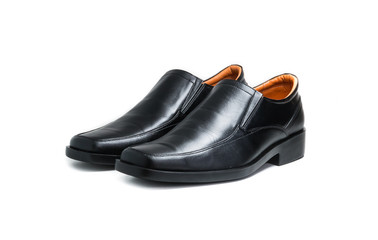 Black glossy man shoe isolated