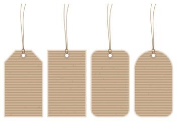 Set 4 Hangtags Brown Paper