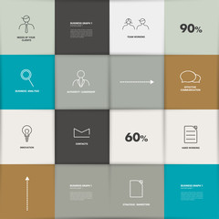 Flat template. Infographic square panel, chart.