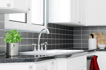 Spüle mit Wasserhahn in Küche