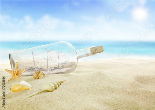 canvas print picture Ship in a bottle on the beach