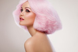 Beauty Fashion Model Girl with Pink Hair. Colourful Hair. Colour