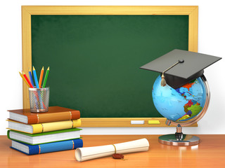 School education concept. Mortar board, blackboard, books, globe