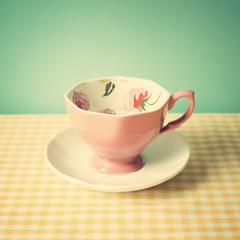 Vintage pink tea cup