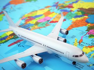 Airplane on world map. Three-dimensional image.