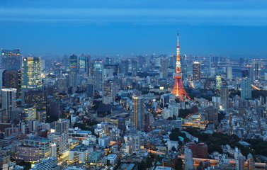 View of Tokyo city and Tokyo Tower in evening