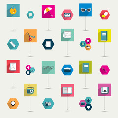 Set of colorful modern flat long shadows icon.