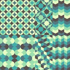 set of abstract retro geometric pattern