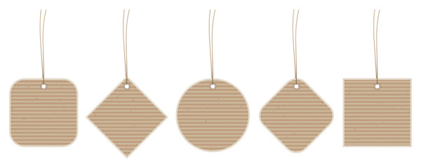 Set 5 Little Hangtags Brown Paper