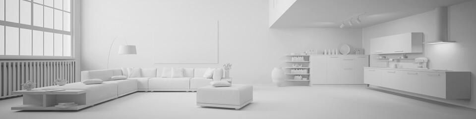 Panorama von einem Loft in weiß