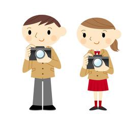 カメラを持つ学生