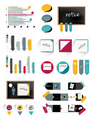 Infographics collection of charts, graphs, speech bubbles.