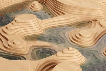 Abstrakte Landschaft mit Holz und Wasser
