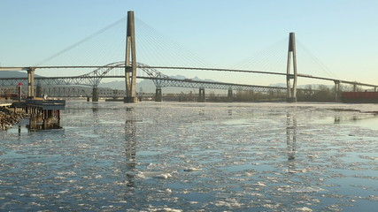New Westminster Bridges and River Ice