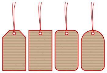 Set 4 Hangtags Brown Paper Red