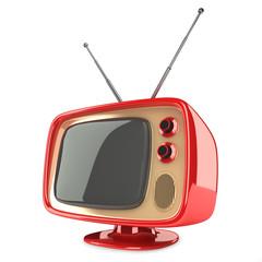 Small retro tv isolated