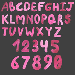 watercolor letters  and figures numbers