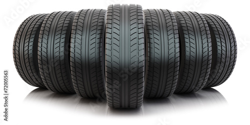 Group of automotive tires poster