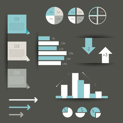 Minimalictic modern infographic folder with diagrams.