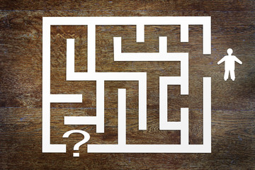Concept of solution the problem. Man and a labyrinth