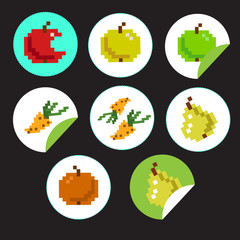 vector sticker label natural products with 8-bit pixel fruits