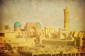 Vintage image of Bukhara, Uzbekistan.
