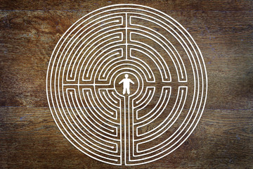 Concept of solution the problem. Man into a labyrinth