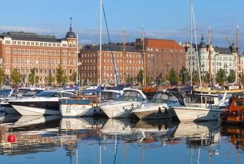 Yachts and pleasure motor boats moored in Helsinki