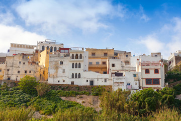 Medina of Tangier, Morocco. Old colorful living houses