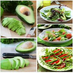 Set salads with fresh avocado and fruit sliced 