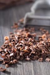 Chocolate curls made with a potato peeler