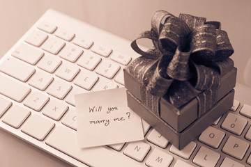 Romantic gift with Marry me? love message, valentine's day conce