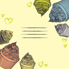 Vintage cupcake. Card cupcakes hand-drawn with chalks.