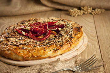 meat and cheese stuffed filo dough borek kol boregi
